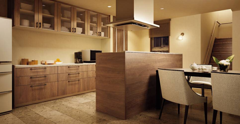 Panasonicの家具みたいなシステムキッチン 「スマートステップ」対面プラン|桜井・橿原の分譲・注文住宅の日生ハウジング