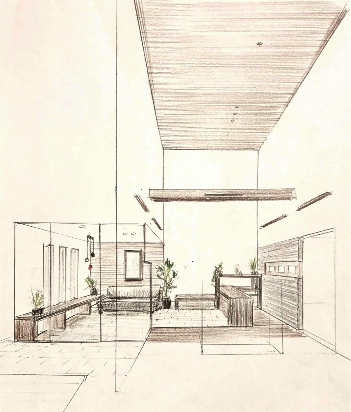 本社エントランスを一新。来訪者の方がゆっくりと過ごせる「くつろぎの場」を設置。|桜井・橿原の分譲・注文住宅の日生ハウジング